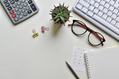 Top view office desk. Concept creative ideas business notes has tools equipment is elements with copy royalty free stock image