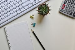 Top view office desk. Concept creative ideas business notes has tools equipment is elements with copy stock image