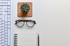 Top view office desk. Concept creative ideas business notes has tools equipment is elements with copy royalty free stock photography