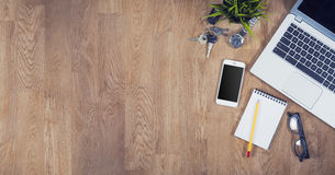 Top view office desk. Top view of an office desk with copy space Royalty Free Stock Images