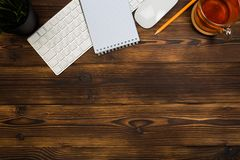 Top view office  desk  with copy space. Image stock photo