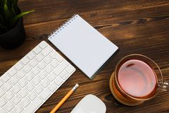 Top view office  desk  with copy space. Image royalty free stock photo