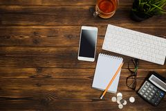 Top view office  desk  with copy space. Image royalty free stock photography