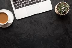 Top view of office desk. Green plant in a pot, cup of coffee and modern silver laptop on dark background. Copy space for your text.  royalty free stock photography