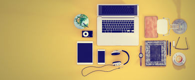 Top view office desk hero header for responsive webdesign. Lette Royalty Free Stock Photo