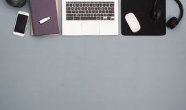 Top view office desk hero header Stock Image