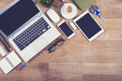 Free Top View Office Desk Mockup Stock Photos - 55718213