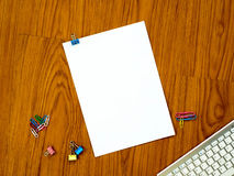 Top view of office desk with paper Royalty Free Stock Images