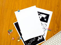 Top view of office desk with paper Stock Photos
