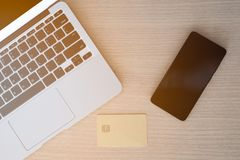 Top view office desk, smartphone and credit card Royalty Free Stock Photography