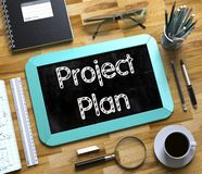 Project Plan on Small Chalkboard. 3d Rendering. stock image