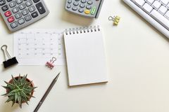 Top view office desk. Concept creative ideas business notes has tools equipment is elements with copy royalty free stock photos