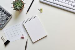 Top view office desk. Concept creative ideas business notes has tools equipment is elements with copy stock photography