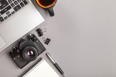 Top view of office desk royalty free stock photography