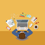 Top view office desk workplace concept flat 3d web isometric. Top view above businessman office desk workplace concept flat 3d web isometric infographic vector Royalty Free Stock Images
