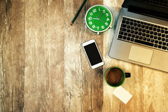 Top view of office desk and workspace as copy space Stock Images