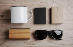 Top view of a office elements, sunglasses, cup on Royalty Free Stock Photo