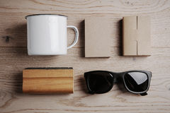 Top view of a office elements, sunglasses, cup on Royalty Free Stock Photography