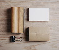 Top view of office elements on the wooden Stock Images