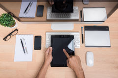 Top view office hand working with Tablet Royalty Free Stock Photos