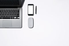 Top view of office supply or hipster desktop. Stock Photos