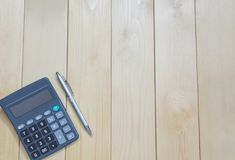 Top View Office Table Calculator With Pen On The Table