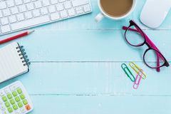 Free Top View Office Table With Workspace And Office Accessories Royalty Free Stock Image - 116683296