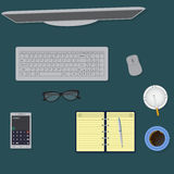 Top view office table. Workspace organization concept. Stock Image