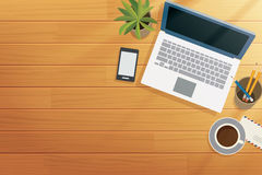Top view office wooden desk in morning Stock Photos