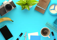 Top View of Office Working Space in Blue Stock Images