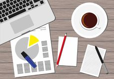 Top view of the office workplace. Icon of a laptop keyboard, coffee cup, pencil, papers. Flat Style Contemporary Design. Top view of the office workplace. Icon Stock Photo