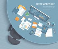 Top view of office workplace with round table, armchair, office supplies. Charts, graphics on a monitor screen tablet phone. Documents Vector illustration Royalty Free Stock Photography