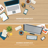 Top view office workplace on wood table Stock Images