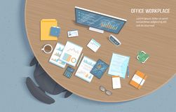 Top view of office workplace with wooden round table, chair, office supplies, documents, notepad, folder, tablet. Charts, graphics. On a monitor screen. Vector Stock Images