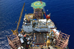 Top View of Offshore Drilling Rig Royalty Free Stock Image