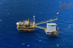 Top view offshore oil rig platform. The top view offshore oil rig platform take from aircraft Royalty Free Stock Image