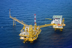 Top view offshore oil rig platform. Take from helicopter Stock Images