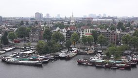 Top view of old Amsterdam city at  summer stock footage