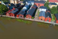 Top view of the old barns on the bank of the Porvoonjoki river aerial photography. Porvoo. Top view of the old barns on the bank of the Porvoonjoki river on a royalty free stock photography