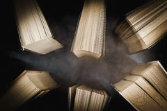 Top view of old books in the fog Royalty Free Stock Photography