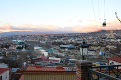 Top View of the Old City and Downtown of Tbilisi in the evening Royalty Free Stock Photos