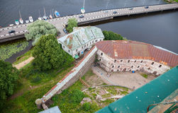 Top view on the Old City from the observation deck of the Vyborg castle Stock Image