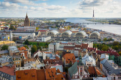 Top view of the old city of Riga Stock Photos