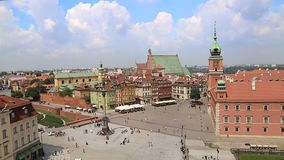 Top view of the old city in Warsaw stock footage