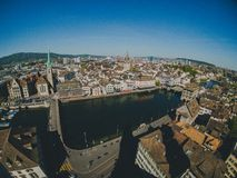 Top view of the old city of Zurich. Royalty Free Stock Photos