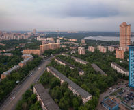 Top view of old district of the city of Moscow at dawn. A low-rise building surrounded by trees.  Royalty Free Stock Photo
