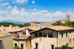 Top  view of old european city. Girona Royalty Free Stock Image