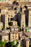 Tuff city of Sorano. Top view of the old  famous tuff city of Sorano, province of Siena. Tuscany, Italy Royalty Free Stock Photo