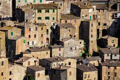 Tuff city of Sorano. Top view of the old  famous tuff city of Sorano, province of Siena. Tuscany, Italy Stock Photo