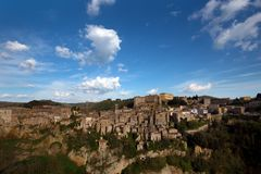 Tuff city of Sorano. Top view of the old  famous tuff city of Sorano, province of Siena. Tuscany, Italy Royalty Free Stock Photography